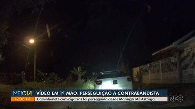 Vídeo em 1ª mão no #MEIODIAPR: perseguição a contrabandista - PRF apreendeu 30 mil maços de cigarros em Astorga.
