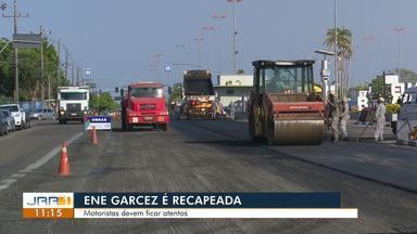 Avenida Ene Garcez passa por obras recapeamento - Motoristas devem ficar atentos.