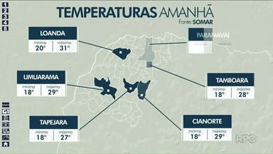 Domingo (01) tem previsão de pancadas de chuva para o Noroeste - Pancadas devem ser isoladas. Calor permanece.