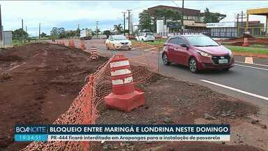 Rodovia entre Maringá e Londrina será bloqueada neste domingo - Concessionária vai orientar sobre desvios. Período de interdição vai do meio da manhã até o meio da tarde.