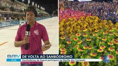 Ganhadeiras de Itapuã participam do desfile das escolas de samba campeãs do Rio de Janeiro - Evento acontece na noite deste sábado (29). A escola de samba Viradouro homenageou o grupo baiano e garantiu o título deste ano.