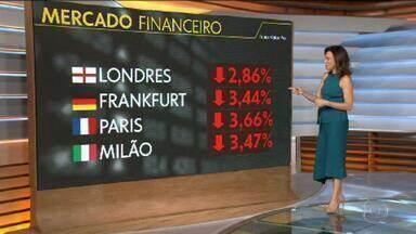 Avanço do coronavírus provoca queda nas principais Bolsas do mundo - Na Ásia, as bolsas já fecharam no vermelho: Tóquio, por exemplo, recuou quase 3%. Na Europa, as bolsas estão operando nesse momento em queda livre: Londres, -2.86%. Na quinta (5), o índice Dow Jones da Bolsa de Nova York fechou em queda de mais de 3,5%.