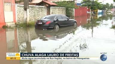 Chuva forte causa problemas em Lauro de Freitas, na região metropolitana de Salvador - Ruas estão alagadas e o trânsito está complicado na cidade.Veja as imagens.
