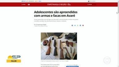 Três adolescentes são apreendidos com armas em facas em Avaré - Funcionários da escola deles fizeram uma denúncia à polícia