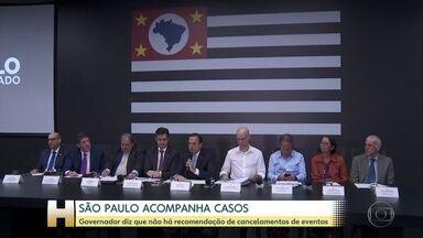 São Paulo, estado com mais casos do novo coronavírus, anuncia medidas - Estado de SP tem 46 casos confirmados de coronavírus. Governo de SP recomenda suspensão de cirurgias eletivas em hospitais.