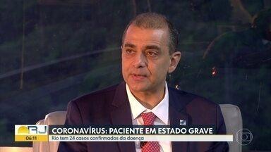Rio de Janeiro não possui leitos de UTI disponíveis para pacientes de coronavírus - Secretário alerta para os cuidados para evitar a proliferação do coronavírus. Governo toma novas medidas para contenção do coronavírus. Segundo o governador Wilson Witzel, o estado não possui leitos de UTI.