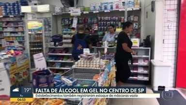 Após coronavírus, comércios de SP registram falta de máscaras e álcool gel - Preocupação com o avanço da doença fez estoques de algumas farmácias esgotarem.