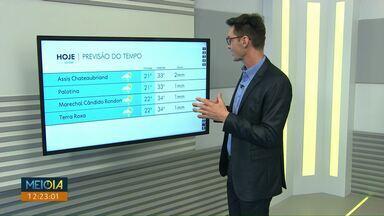 Previsão de chuva e temporal para a região Oeste nesta quarta-feira (18) - As temperaturas continuam altas na tarde desta terça-feira (17).
