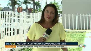 Polícia investiga desaparecimento de motorista com carga de leite - Ele tem 32 anos e saiu de Guairaçá. Última localização do rastrear foi em Londrina.