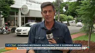 Governo do Paraná restringe aglomerações e suspende aulas - Medidas foram publicadas ontem, como forma de prevenção ao novo coronavírus.