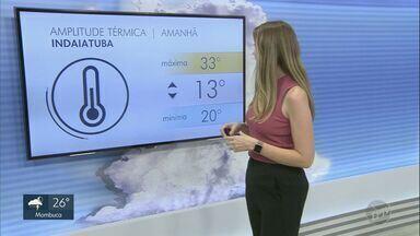 Tempo continua abafado na região de Campinas; veja a previsão desta quarta-feira (18) - Em Indaiatuba (SP), máxima deve ser de 33ºC e mínima de 20ºC.