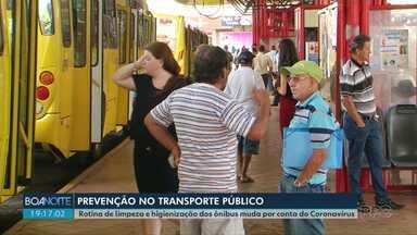 Medidas de prevenção são tomadas no transporte público de Guarapuava - Rotina de limpeza e higienização dos ônibus muda por conta do Coronavírus.
