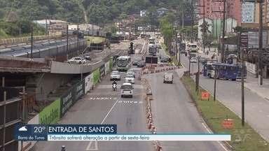 Trânsito sofrerá alteração na entrada de Santos - A partir de sexta-feira trânsito muda por conta de obra na entrada da cidade.