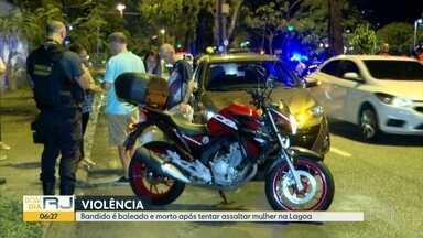 Bandido é morto depois de tentar assaltar na Lagoa - Ele estava de moto na JJ Seabra.