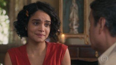 Inês revela a Afonso e Durvalina que está grávida de Lúcio - Afonso fica perplexo com a revelação da filha
