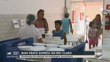 Bom Prato de Rio Claro faz distribuição de refeições em embalagens descartáveis - Café da manhã está sendo entregue das 7h às 9h e o almoço das 10h às 14h.