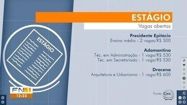 Cidades do Oeste Paulista disponibilizam vagas de estágios para estudantes - Oportunidades são intermediadas pelo Centro de Integração Empresa-Escola (Ciee).
