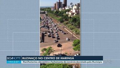 Maringá tem buzinaço no Centro - Protesto é pela reabertura do comércio.