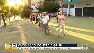Vacinação contra a gripe volta a ser feita nesta segunda-feira em Goiânia - Aplicação de doses foi interrompida no final de semana, mas a procura pelos postos tem sido grande.