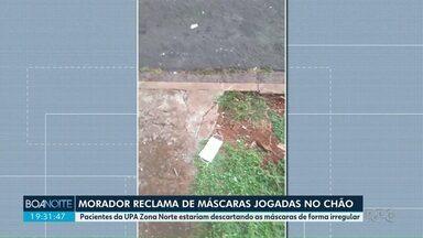 Telespectador flagra descarte de máscaras nas ruas - O vídeo foi feito na região da UPA da Zona Norte