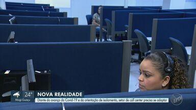 Empresas de telemarketing adotam medidas preventivas contra a Covid-19 - Parte dos funcionários está trabalhando em home office.