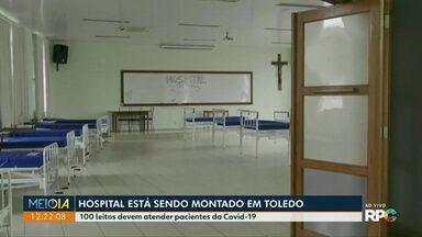 Hospital de campanha está sendo montado em Toledo - 100 leitos devem atender pacientes da Covid-19.