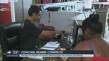 Conchal reabriu o comércio com medidas de prevenção nesta segunda - Comerciantes dissem que houve movimento. Estado determinou quarentena contra o coronavírus até o dia 22 de abril e prefeitura determinou novo fechamento.