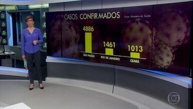 Brasil tem 566 mortes por coronavírus e mais de 12 mil casos - Nos últimos quatro dias, a quantidade de óbitos notificados não mostra aceleração, mas não dá para enxergar ainda uma tendência. Três estados registram mais de mil casos confirmados da doença: São Paulo, Rio de Janeiro e Ceará.