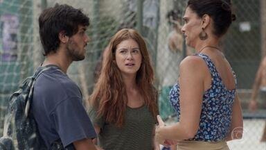 Rosângela pede ajuda a Jonatas para retomar o processo contra Florisval - Ela pensa em pedir desconto nos serviços do suposto patrão do filho. Jonatas desconversa