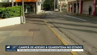 Itapecerica da Serra alcançou 76% de isolamento no domingo (12) - A cidade foi a campeã de adesão à quarentena em todo o estado