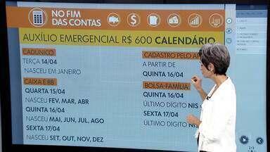 No Fim das Contas, ajuda de R$ 600 é depositada aos poucos, seguindo mês de nascimento - A repórter de economia, Mônica Carvalho, mostra calendário de pagamento, datas para saques em dinheiro e tira outras dúvidas de telespectadores sobre o auxílio emergencial do governo federal, por causa do coronavírus.