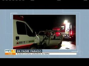 Ambulância do Samu colide com carro na BR-116, próximo à cidade de Padre Paraíso - Acidente ocorreu no KM 159. A ambulância vinha de um conserto em Teófilo Otoni e seguia sentido Itaobim, de acordo com a PRF.