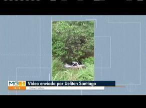 VC no MG: Confira os vídeos enviados pelos telespectadores do MG1 - Telespectador mostra a situação do trecho de uma estrada, próximo ao município de Entre Folhas.
