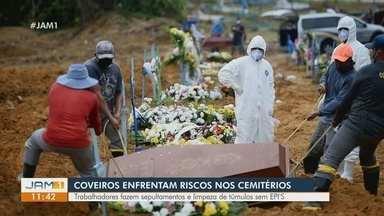 Em Manaus, coveiros enfrentam riscos nos cemitérios - Trabalhadores fazem sepultamentos e limpeza de túmulos sem EPI's.