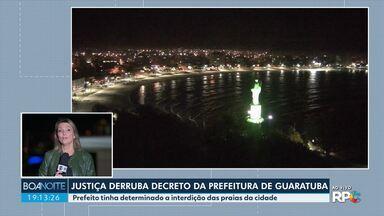 Justiça derruba decreto da prefeitura de Guaratuba que interditou as praias da cidade - O prefeito Roberto Justus disse que vai recorrer da decisão e defende que a praia permaneça fechada.