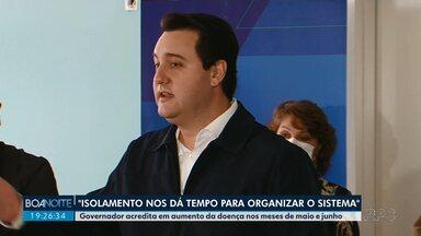 Governador Ratinho Junior reforça a importância do isolamento social - Ele esteve em Guarapuava nesta terça-feira (14) para visitar a construção do Hospital Regional.
