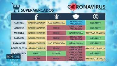 Prefeituras do Paraná não têm consenso sobre funcionamento de mercados durante a pandemia - Algumas cidades proibiram entrada de crianças por exemplo, outras não