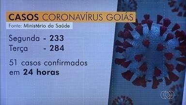 Goiás registra o maior aumento de casos confirmados de Covid-19 de um dia para o outro - Estado teve 51 novos registros da doença em 24 horas. Ao todo, são 284 casos e 15 mortes por coronavírus.