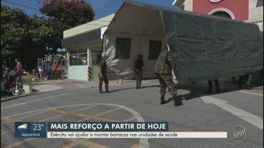 Coronavírus: exército ajuda a montar tendas de apoio às unidades de saúde de Campinas - Medida visa auxiliar no combate à Covid-19. Ao todo, oito barracas serão distribuídas pela cidade.