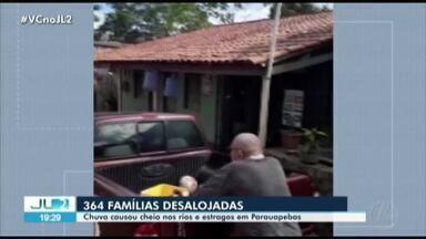 Nível do rio Parauapebas sobe 12 metros e desaloja 364 famílias no sudeste do Pará - Nível do rio Parauapebas sobe 12 metros e desaloja 364 famílias no sudeste do Pará