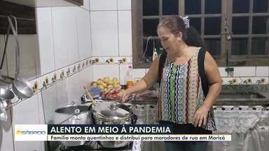 Família monta quentinhas e distribui para moradores de rua em Maricá, no RJ - Em meio à pandemia do novo coronavírus, iniciativas para ajudar o próximo não param de surgir.