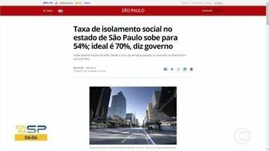Taxa de isolamento foi de 54% - Expectativa é abaixo do ideal, que é de 70%.