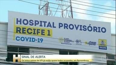 Leitos extras de UTI já estão quase todos ocupados, em Pernambuco - De acordo com o último boletim da Secretaria de Saúde de Pernambuco, 95% dos leitos de UTI criados nas últimas semanas para atendimento exclusivo de pacientes com Covid-19 já estão ocupados.