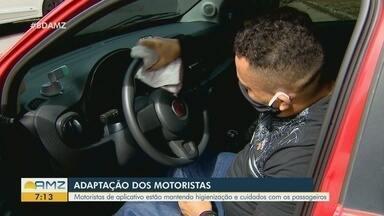 Motoristas de aplicativo se adaptam em meio a pandemia do novo coronavírus - Motoristas estão mantendo higienização e cuidados com os passageiros.
