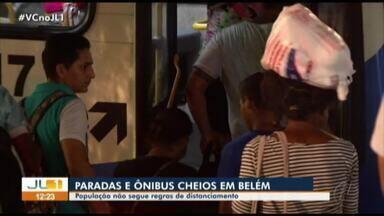 Com redução de frota, paradas de ônibus ficam cheias em meio à pandemia em Belém - Com redução de frota, paradas de ônibus ficam cheias em meio à pandemia em Belém