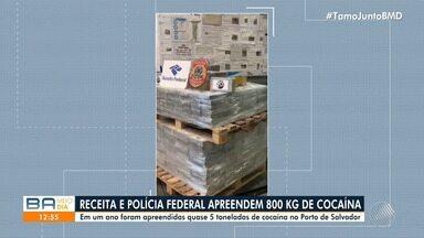 PRF e Receita Federal apreendem cerca de 800kg de cocaína no Porto de Salvador - Apreensão aconteceu na tarde desta segunda-feira (20).