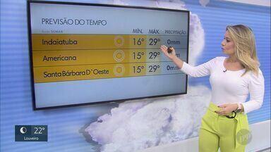 Quarta-feira (22) deve ser de sol na região de Campinas - Cepagri da Unicamp prevê temperaturas entre 16º C e 30º C.