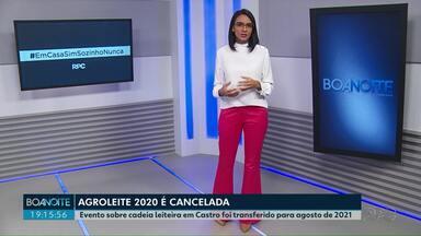 Agroleite é cancelada em 2020 - Evento sobre cadeia leiteira em Castro foi transferido para agosto de 2021.