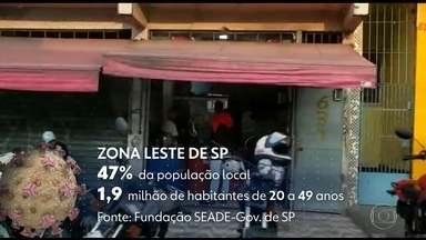 Mais jovens formam maior grupo de vítimas da Covid-19 na Zona Leste de São Paulo - Quase metade da população da região tem entre 20 e 49 anos. Muitos ainda estão se arriscando nas ruas.