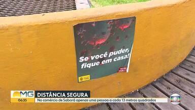 Cidade de Sabará tem novas medidas para conter o coronavírus - No comércio é permitido apenas uma pessoa a cada 13 metros quadrados.